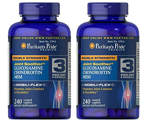 Puritans Pride Double Strength Glucosamine, Chondroitin and Msm Joint Soother, 240 Count (Pack of 2)