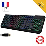 KLIM Chroma Clavier Gamer AZERTY FR + Durable, Ergonomique, Discret, Waterproof, Touches Silencieuses, USB + Clavier Filaire Rétroéclairé LED pour PC Gaming PS4 Mac + Nouvelle Version 2020 + Noir