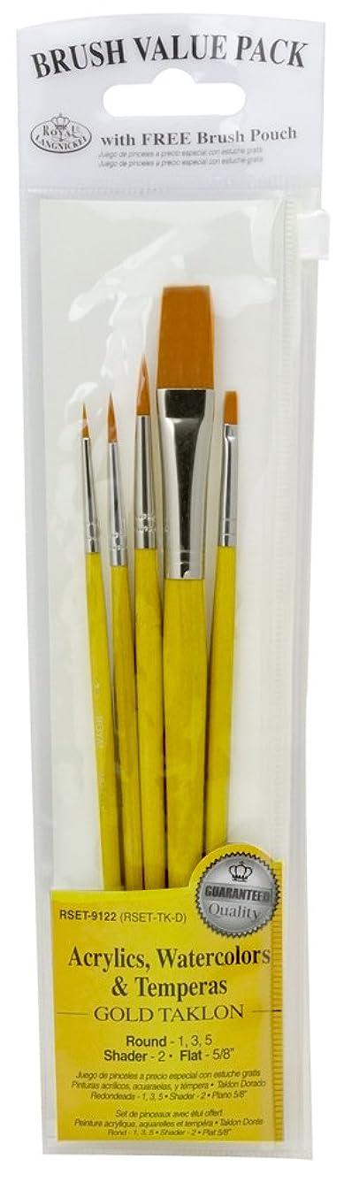 Royal Brush Manufacturing Royal and Langnickel Zip N' Close 5-Piece Brush Set, Gold Taklon