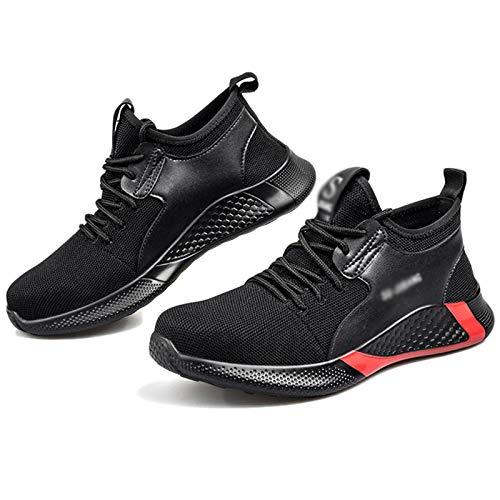 Koyike Zapatos de Senderismo de Seguridad Unisex Zapatos de Trabajo Transpirables a Prueba de Golpes con Gorra de Acero Zapatos Protectores indestructibles,Black-44