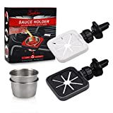 Sophico Dip Clip for Sauce, In-car Sauce Holder for Ketchup and Dipping Sauces, Universal for All Vehicle Car Vent, with Stainless Steel Condiment Containers (Grey, White)