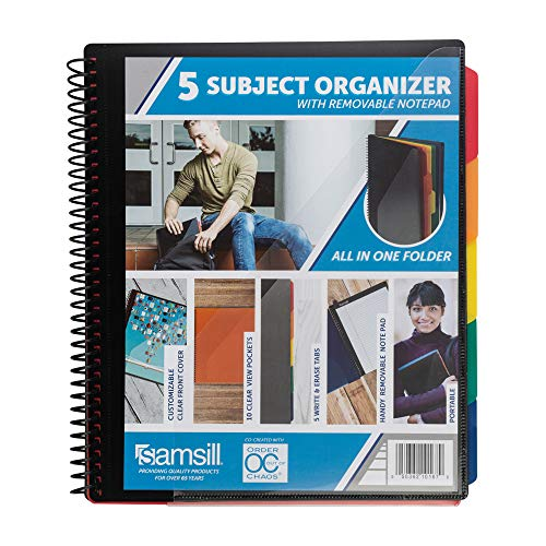 Samsill 5 Subject Spiral School Organizer with Removable Notepad, All-in-One Folder, 5 Dividers with 10 Pockets, Multi Pocket Folder and Document Holder