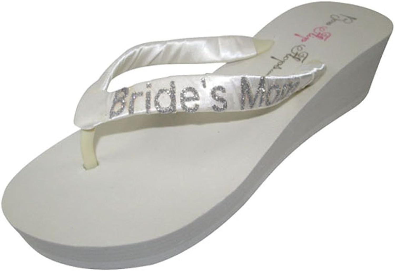 Brides Mom Ivory Glitter Wedding Flip Flops
