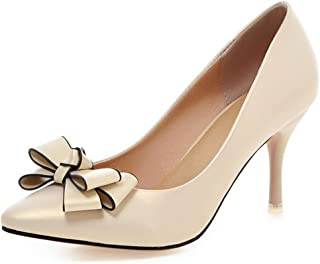 7436803b87 COOLCEPT Women Fashion Kitten Heels Pumps Pointed Toe Sweet Dress Thin High  Heel Shoes with Bow