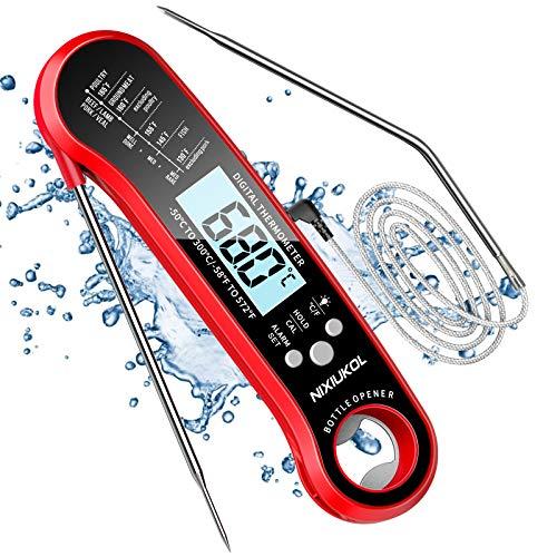 Fleischthermometer 2 in 1 Digital Bratenthermometer IP67 Wasserdicht, Grillthermometer mit 2 Edelstahlsonden, Instant Read, Temperatur Alarm, Flaschenöffner, Küchen Thermometer für Grill BBQ Ofen