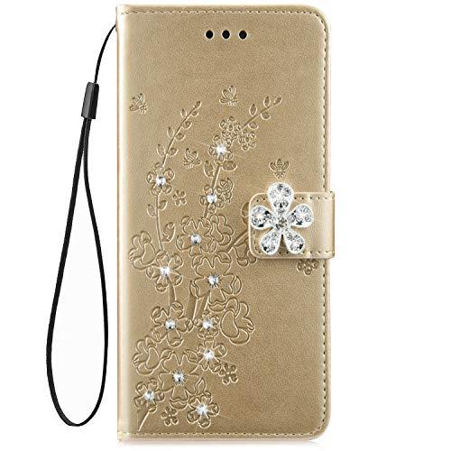 Remplacement pour Xiaomi Redmi 6 Housse de téléphone en Cuir Etui de Protection Motif PU Cuir Portefeuille Folio Housse Case Cover Couverture,Or