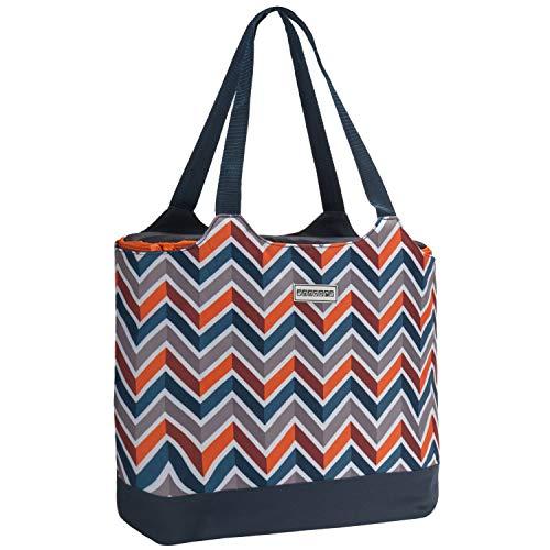 anndora 2 in 1 Einkaufstasche mit Isoliertasche - doppeltes Volumen - dunkelblau/orange