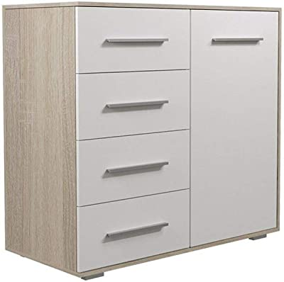 Drp Trading 4 2 Chest Of Drawers Bedside Table In White Walnut Bedroom Furniture 6 Draw Amazon Co Uk Kitchen Home