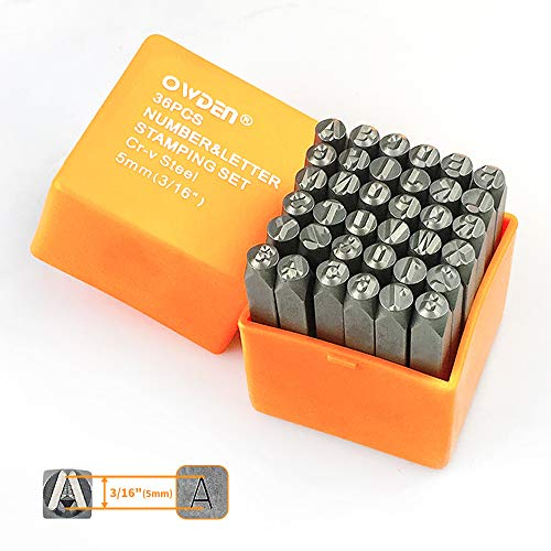 """OWDEN Professional 36Pcs. Steel Metal Stamps Set,(3/16"""") 5mm,Steel Number and Letter Punch Set,Alloy Steel Made HRC 58-62 for Jewelry Craft Stamping."""