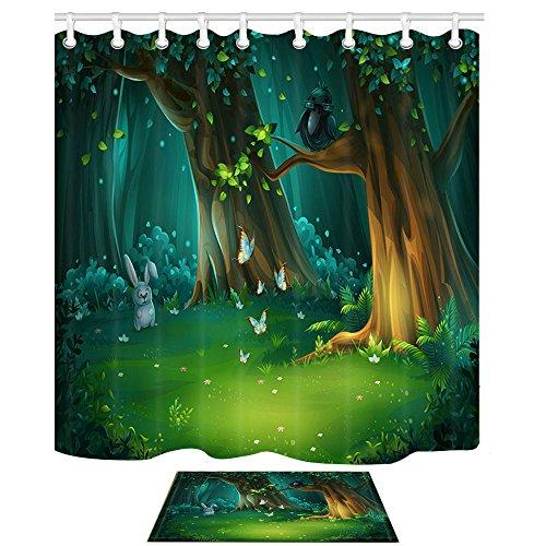KOTOM Nature Rideau de douche et tapis de bain, Forest Glade Bois clair avec des papillons lièvre et un hibou dans des verres pour enfants Magical Design Polyester Tissu Rideaux de salle de bain 69X70 pouces et tapis de sol Flanelle d'intérieur Tapis de bain 60x40cm