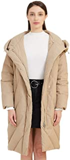 ZYDP Womens Long Hooded White Duck Down Jacket Cold Winter WarmCoat Fashion Classic Quilted Jacket (Color : Khaki, Size : S)