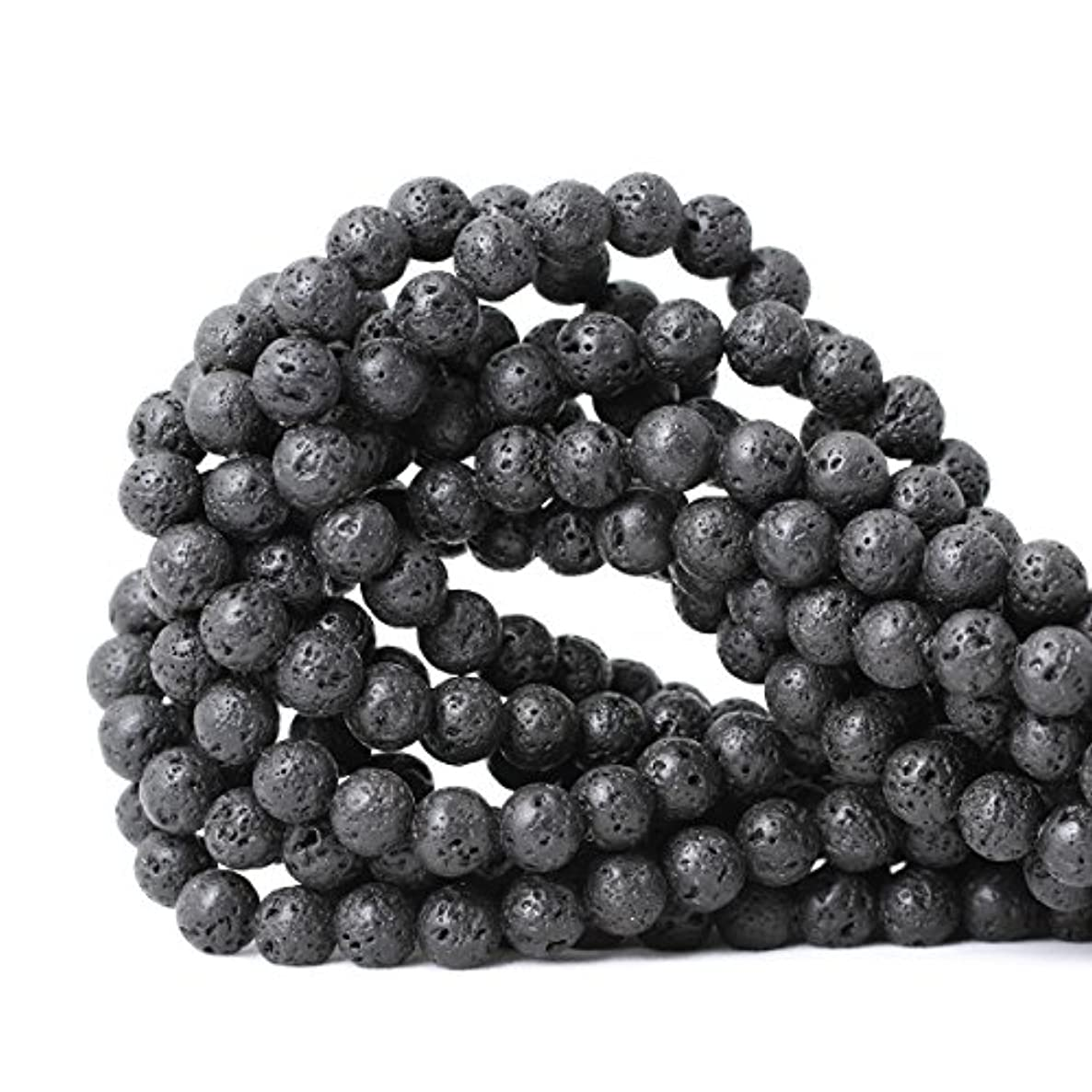CHEAVIAN 8mm 45PCS Black Lava Volcanic Stone Gemstone Round Loose beads For Jewelry Making 1 Strand 15
