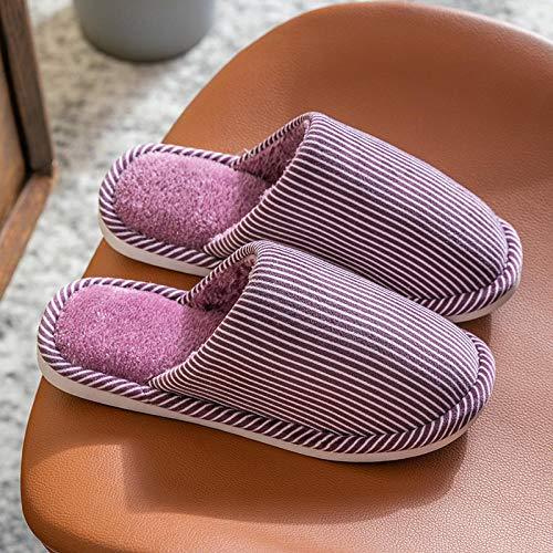 XZDNYDHGX Zapatillas de Estar por casa Unisex Adulto,Zapatillas cálidas de Invierno para Hombre, Zapatillas de Color sólido para Amantes de Las Rayas, Zapatos de Interior púrpura EU 37-38