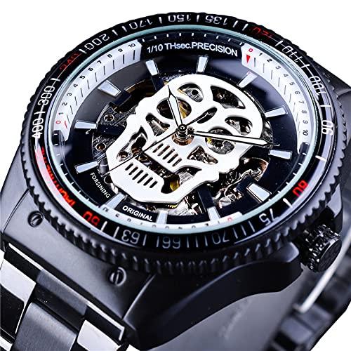 Excellent Reloj Masculino Reloj mecánico automático para Hombres Reloj de Pulsera Casual de Negocios con Correa de Acero Inoxidable Dial Redondo 3ATM 30 Metros Resistente al Agua,A02