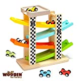 The Wooden Toy Factory - Circuito de Coches de Carreras Click Clack Racing Track con *6* Coches -...