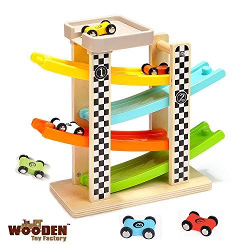 The Wooden Toy Factory - Pista per Macchinine Click Clack in Legno Set con 6 Macchine – Include Area Parcheggio – Senza Montaggio – Sicuro e Ecologico - Idea Regalo per Bambini e Bambine