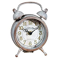 The Country House Collection Small Patina Aged Double Bell on Feet 6.5 x 4.5 Inch Metal Table Top Analogue Clock