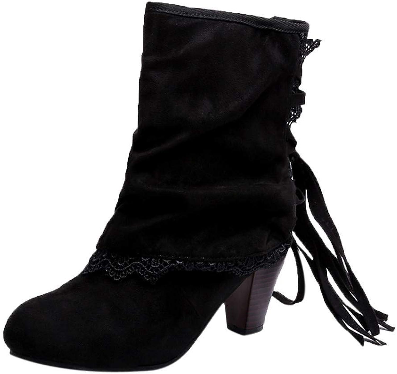 ZHRUI Schuhe Stiefel Damen Mode, Damenstiefel Casual Sexy High Heels Spitze Patchwork Schnallen Stiefel Schuhe Stiefelies Outdoor Stiefel Kurzschaft British Stil (Farbe   Schwarz, Gre   42 EU)