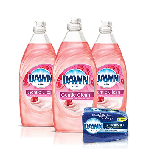 Dawn Gentle Clean Liquid Dish Soap (3x24oz) + Non-Scratch Sponge (2...