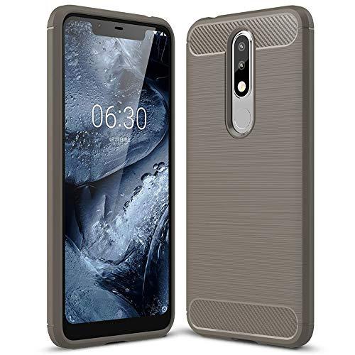 United Case Cover Antiscivolo per Nokia 5.1 Plus (Nokia X5)   Grigio   Gomma Morbida