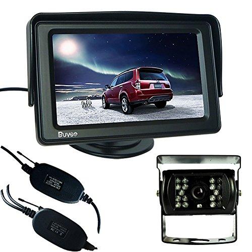 Buyee® Funk Rückfahrkamera Nachtsicht 18 IR LED Farbe Rückfahrkamera Auto Kabellos Rückfahrsystem KFZ+4.3 Zoll TFT LCD Monitor
