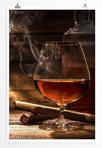 Eau Zone Home Foto - Art foto's - Cognac en sigaren - Fotodruk in haarscherpe kwaliteit POSTER 90x60cm