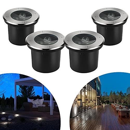 CPROSP 4pcs 3W Spot LED Encastrable Exterieur Rond LED Neutral White Éclairage de Chemin Jardin Éclairage Encastré pour Sentier Pont Patio Jardin Paysage