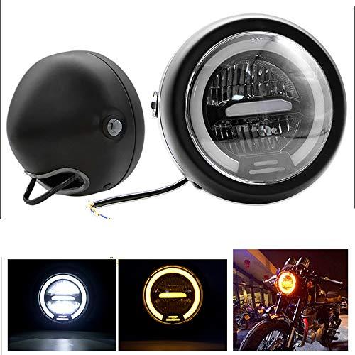 JZWDMD 6.5 Zoll LED Scheinwerfer Angel Eyes DRL Weiß mit den Augen des Engels und Licht der Motorrad Blinker Bernstein für Harley Davidson und einige Autos Schwarz,Whitelight