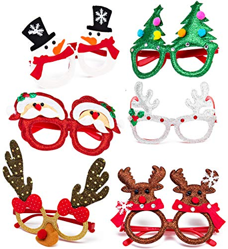 Christmas Glasses | Christmas Favors for Holiday Christmas Party | Christmas Headwear (6) | Xmas Holiday Accessories