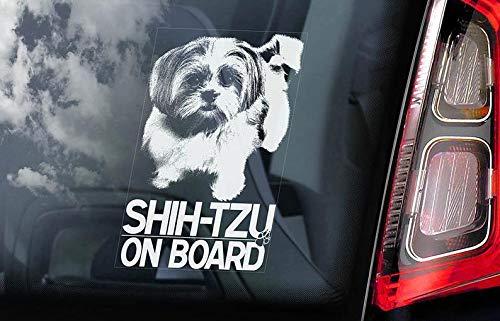 Shih-Tzu aan boord - auto raam Sticker - chrysant hond teken sticker -V01