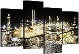 ZDFDC Islamische Leinwand Wandkunst Bilder von Hajj Pilgerfahrt nach Kabah in Mekka - Moderne muslimische Gemälde auf Leinwand - 4 Panel Set von Drucken