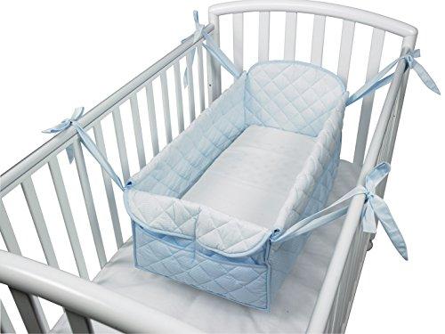 Babysanity Riduttore lettino neonato culla bebè con materassino sfoderabile cotone (Riga azzurro)