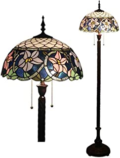 16 Inches Tiffany Style Floor Lamp Stained Glass Design Shade Floor Uplighter 2 Lightweight Antique Base For Bedroom Living Room Reading Lighting, E27