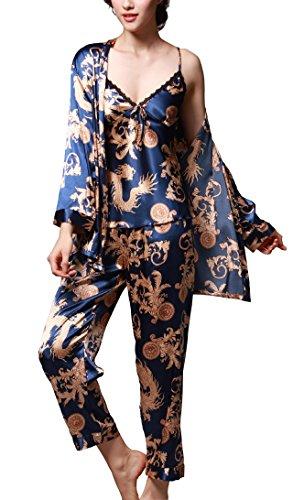 Uniquestyle Pyjama Femme Satin Bleu À Manches Longues Pyjama de Soie de Femme Sexy de Confort Trois-pièces Bleu Taille 3XL=FR XL