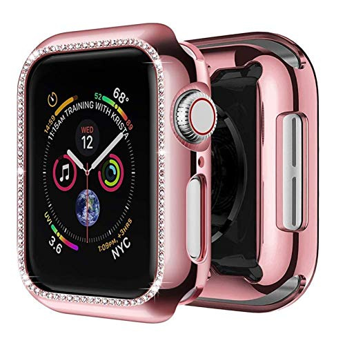 Funda Aplicar a Apple Watch Band Apple Watch 5 4 3 44mm 40mm Iwatch Band Band 42mm 38mm Bling Diamond Protector Cubierta del Protector Parachoques