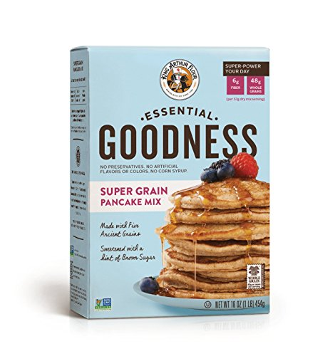 King Arthur, Essential Goodness Super Grain Pancake Mix, Non-GMO Project Verified, Certified Kosher, 16 Ounces (Pack of 6)