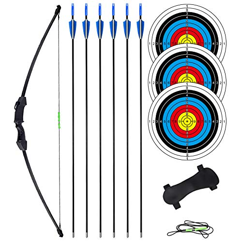Archery Bow and Arrow Set for Teens 18 lbs - Youth Recurve Bows Kit with Arm Guard, 6 Arrows 3 Target Faces Right and Left Hand (Black)