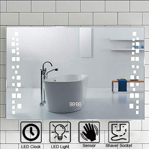 Warmiehomy - Espejo de baño con luces LED (80 x 60 cm) con almohadilla antivaho y enchufe para maquillado, para maquillaje o afeitado en la pared