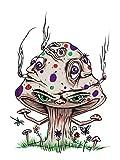 Hat Shark High Mushroom Funny Shroom Smoking Joint Cartoon 18x24 - Vinyl Print Poster