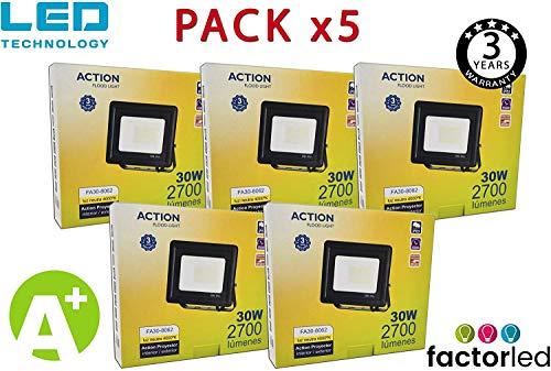 FactorLED ¡OFERTA! Pack x5 Foco LED 30W Negro Slim, Iluminación Exterior e Interior, Proyector Ultrafino IP65, Floodlight Decoración, [Eficiencia energética A+] (Luz Natural (4000K))