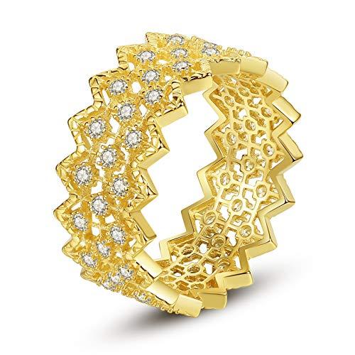 VIKI LYNN 18K Gold Plated Retro Cubic Zirconia Wide Eternity Wedding Band Statement Ring for Women
