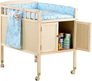 Wood Diaper Station Baby Changing Table with Lockers and Mats Nursery Girls Boys Infants Massage Dresser Bathtub Station
