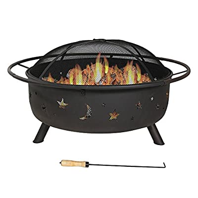 Sunnydaze Cosmic Outdoor Fire Pit - 42 Inch Large Bonfire Wood Burning Patio & Backyard Firepit for Outside with Round Spark Screen, Fireplace Poker, and Metal Grate, Celestial Design