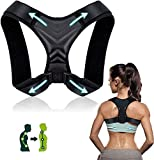 Correcteur de posture, Redresseur de dos pour femmes et hommes,Correcteur de posture de soutien du dos réglable,Soulager de la douleur pour le cou,le dos,le haut du dos et les épaules (37-49 '')