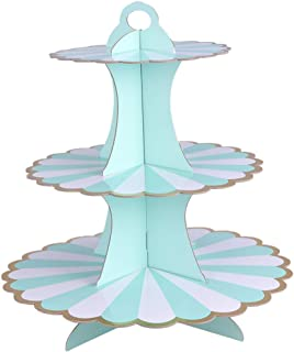 Yardwe Cupcake Stand Paper Dessert Tower Three Tiers Cake Display Rack Fruit Plates Food Serving Tray for Birthday Anniver...