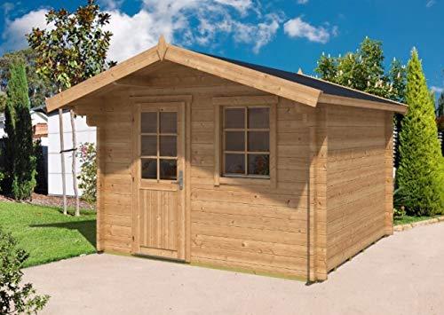 Alpholz Gartenhaus Clara-40 aus Massiv-Holz | Gerätehaus mit 40 mm Wandstärke | Garten Holzhaus inklusive Montagematerial | Geräteschuppen Größe: 320 x 320 cm | Satteldach