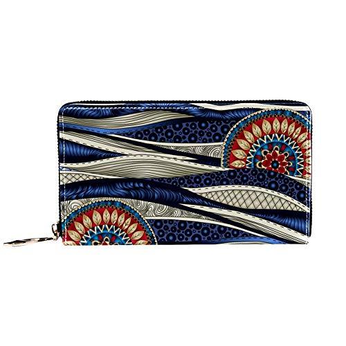XCNGG Leder Geldbörse Mandala Blumen Muster Brieftaschen Kartenhalter Clutch mit...