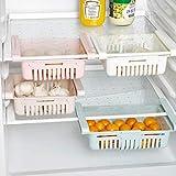 冷蔵庫収納ボックス 引き出し収納ラック 吊り下げ冷蔵庫フード引き出しホルダー棚 スケーラブル引き出し棚 卵ケース 卵入れ 冷蔵庫の整理整頓分類分け はっきり見える 食材パーティション保鲜 クリアケース 前出し (ベージュ, 2pc)