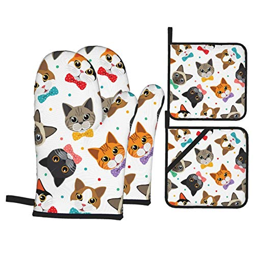 Cats Amp Friend Oven Mitts and Potholders Set Grip Heat Resistant 500℉ Potholders for Kitchens...