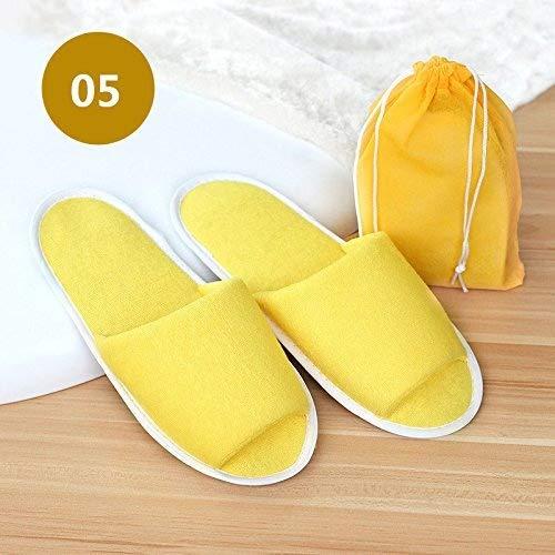 Unisex Travel niet-wegwerp draagbare opvouwbare slippers Open teen Wasbaar Draagbare Pocket Sandalen for women Geel